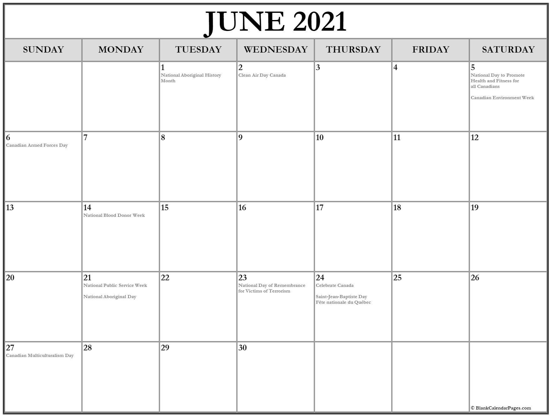 June 2021 Calendar With Holidays June 2021 Calendar With Holidays Usa