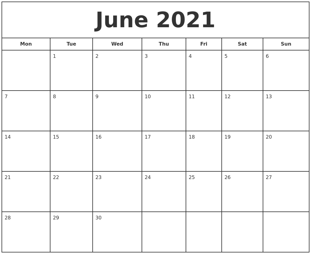 June 2021 Print Free Calendar June 2020 To June 2021 Calendar Printable
