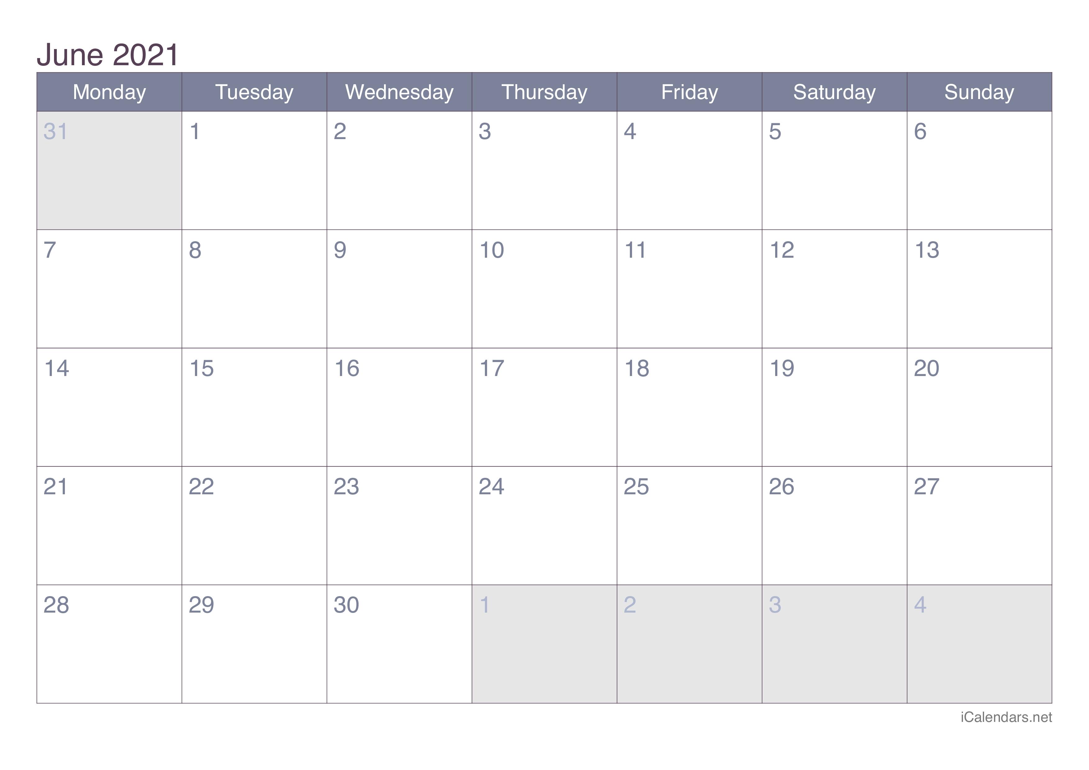 June 2021 Printable Calendar - Icalendars June 2021 Calendar In Excel