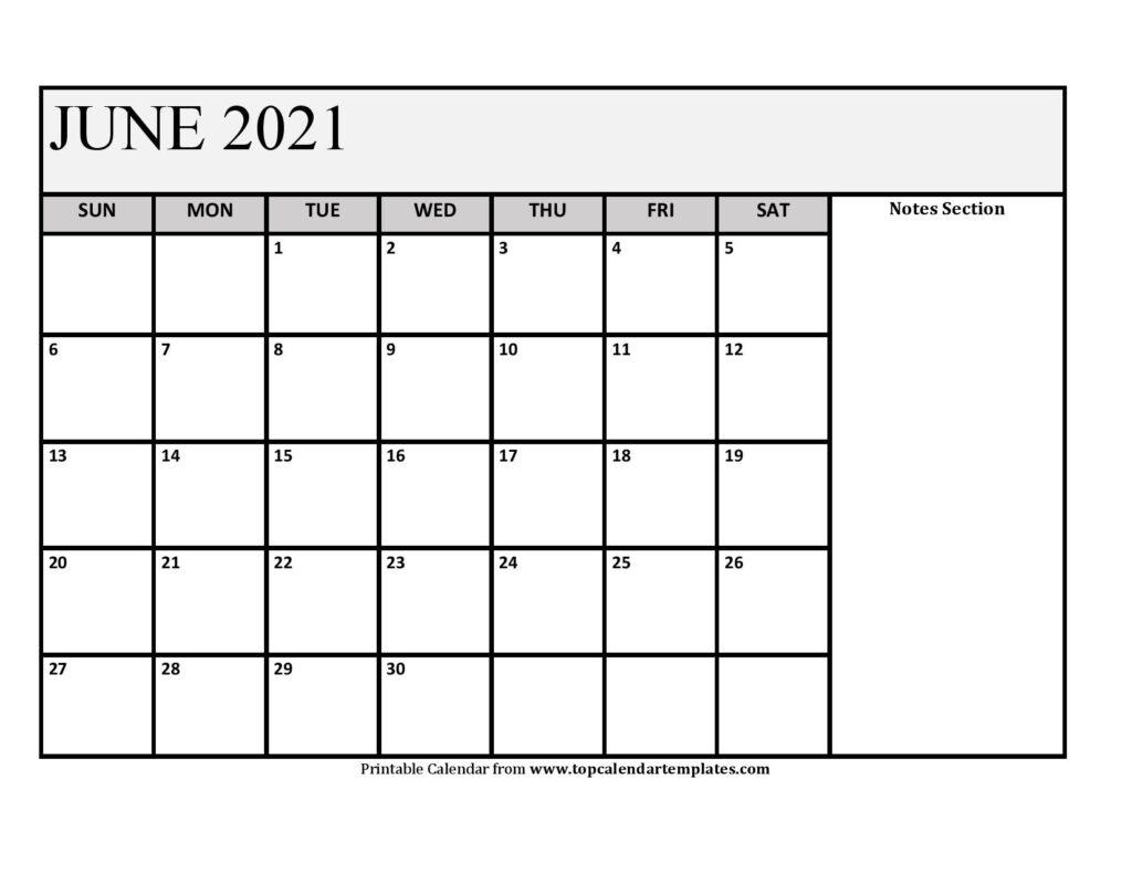 June 2021 Printable Calendar - Monthly Templates Editable June 2021 Calendar