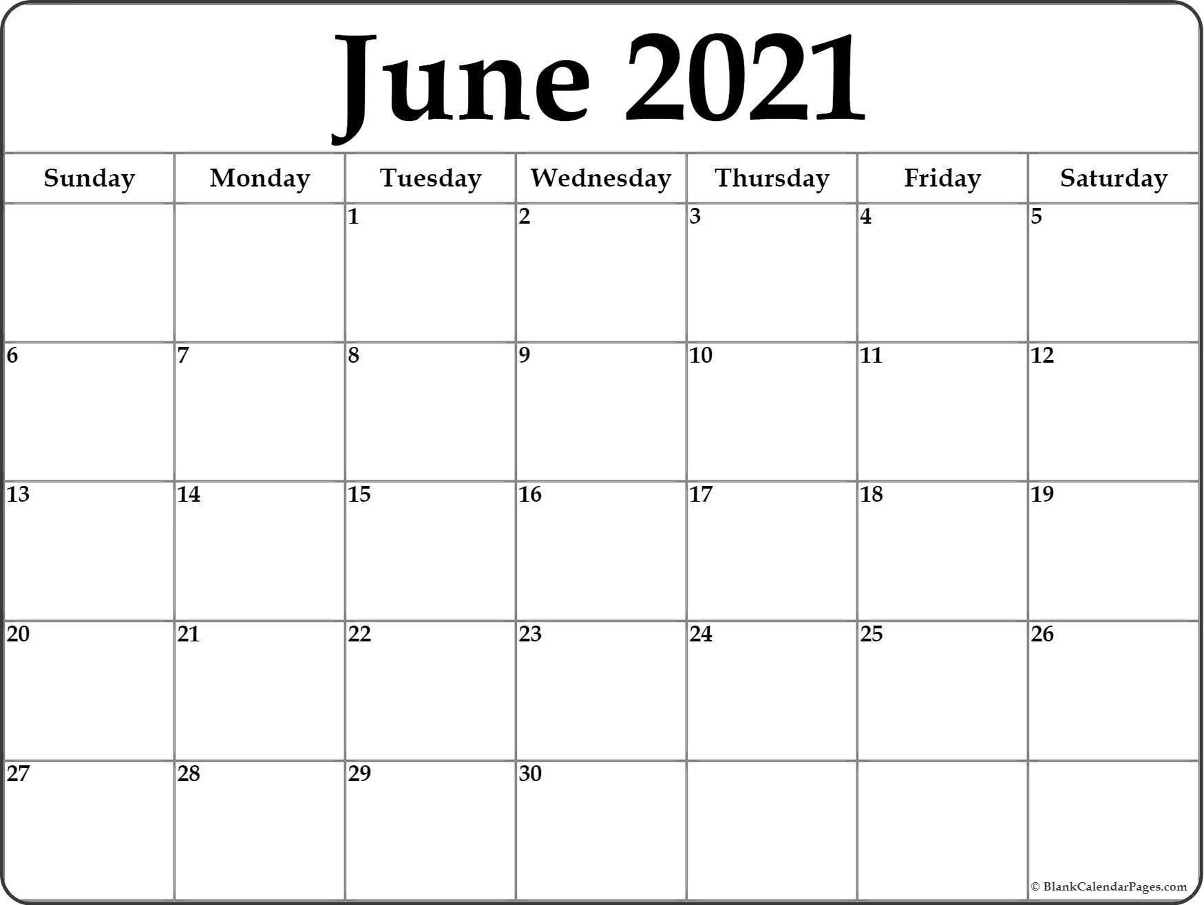 June 2021 Printable Monthly Calendar   Monthly Calendar June 2021 Calendar Panchang