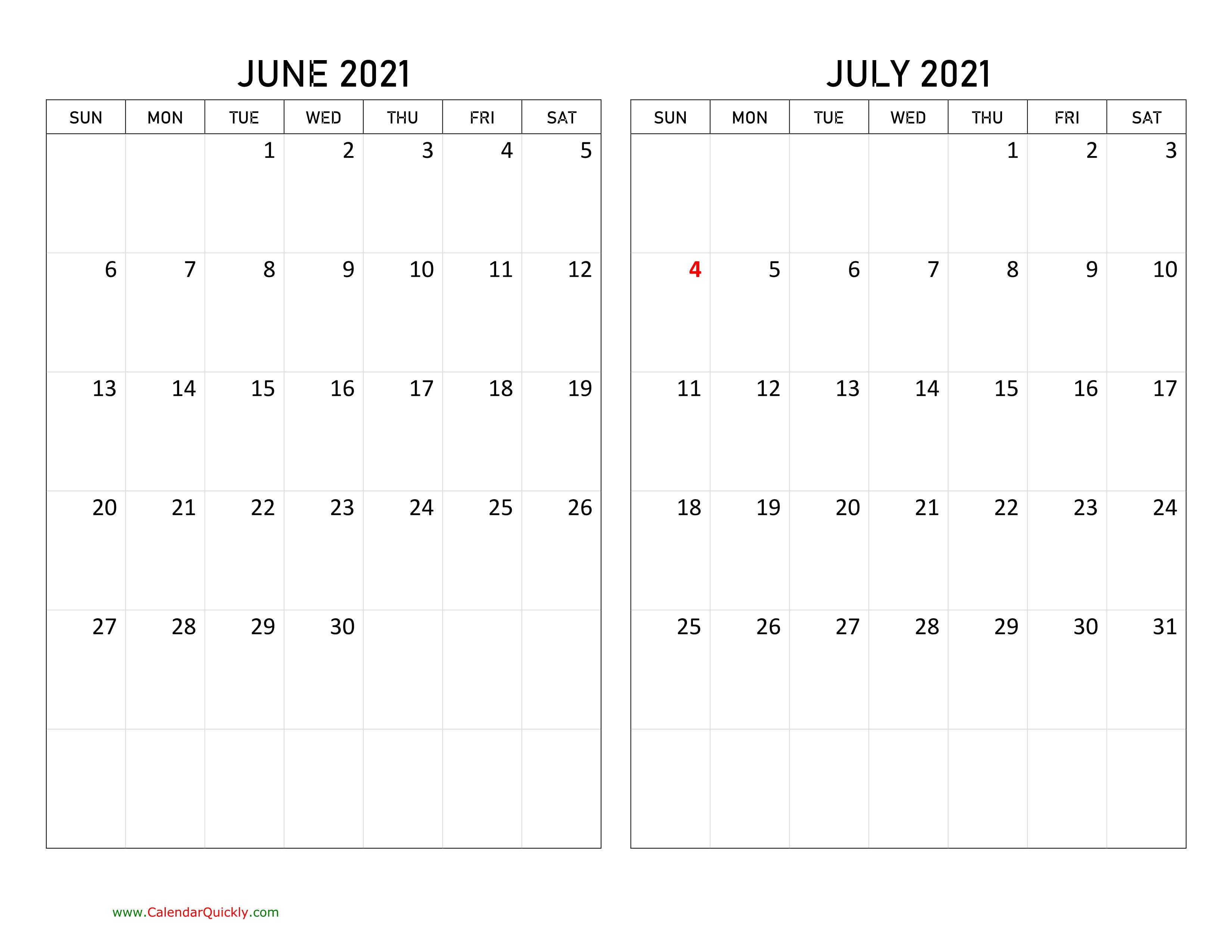 June And July 2021 Calendar   Calendar Quickly Printable Calendar June July August 2021
