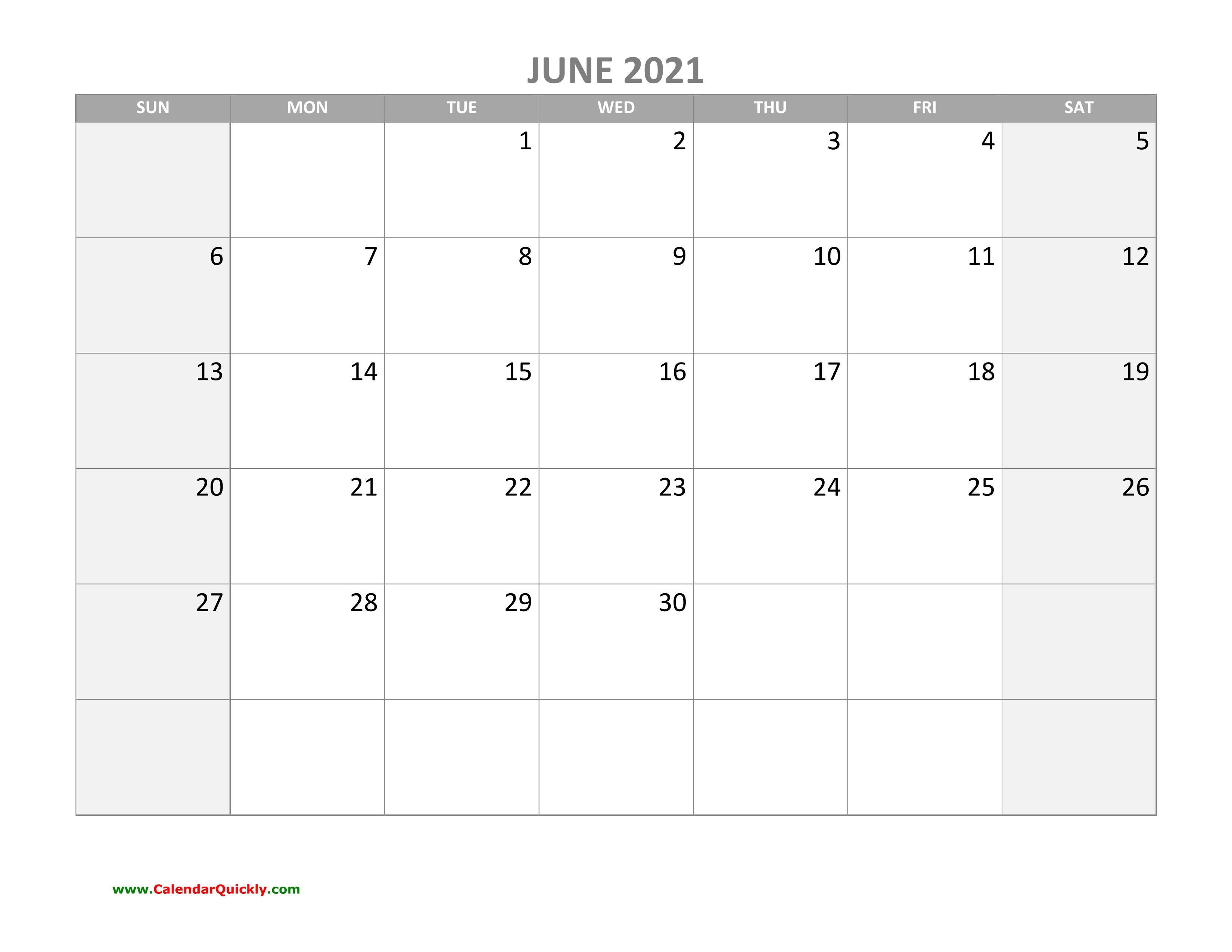 June Calendar 2021 With Holidays | Calendar Quickly June 2021 Calendar With Holidays Usa