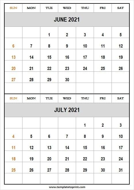 June July 2021 Calendar Free Printable - Printable Calendar 2021 Blank Calendar July 2020 To June 2021