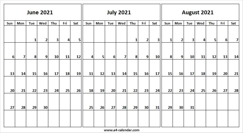 June To August 2021 Calendar To Print - A4 Calendar Printable Calendar June July August 2021