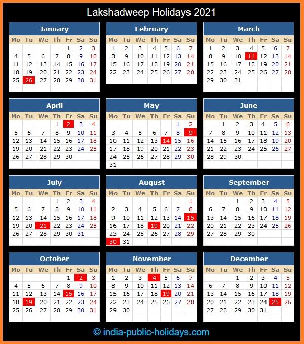 Lakshadweep Holidays 2021 Tamil Monthly Calendar 2021 October