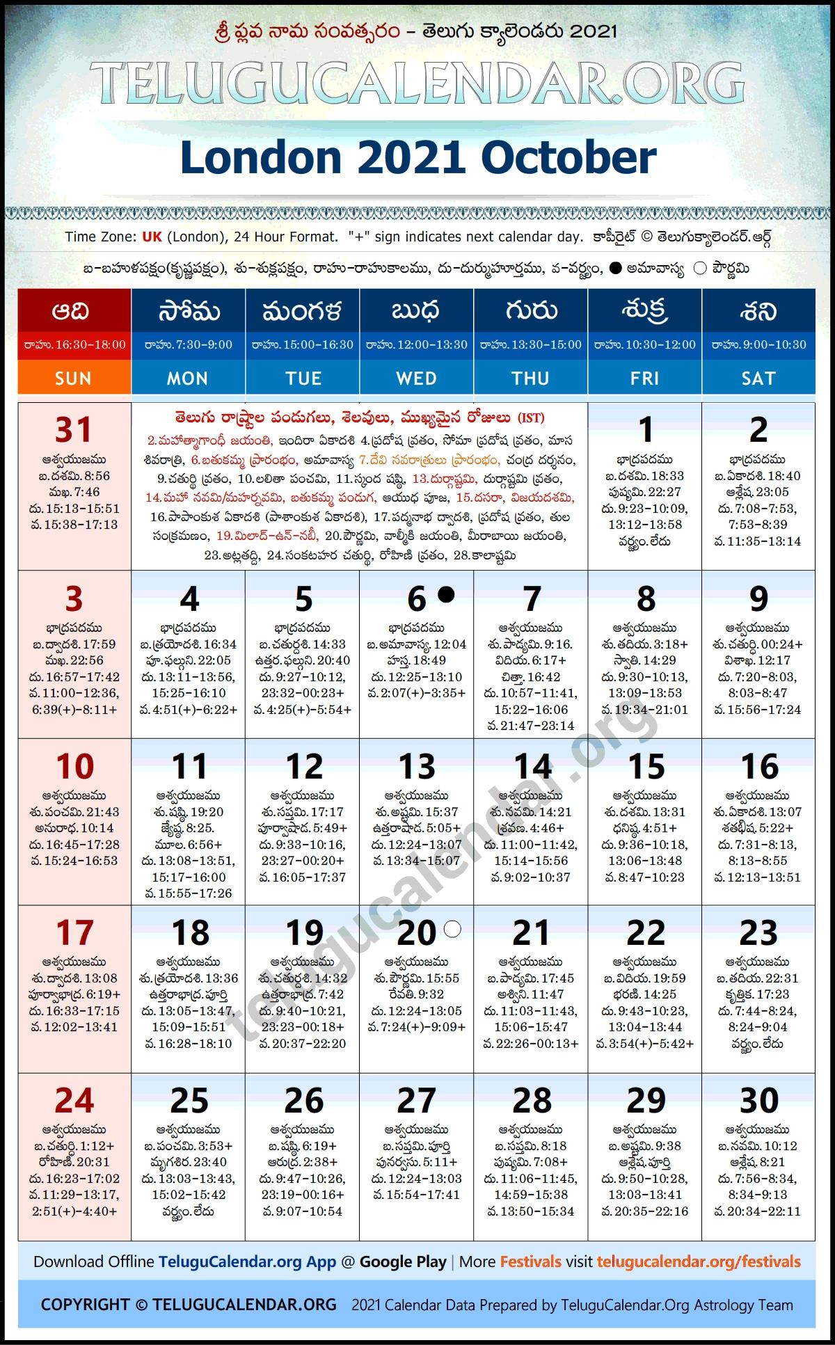 London 2021 October Telugu Calendar Festivals & Holidays August 2021 Telugu Calendar