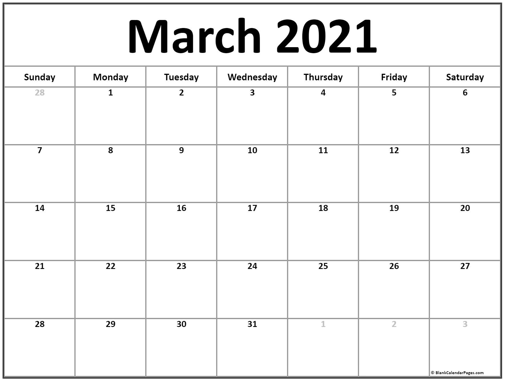 March 2021 Calendar | Free Printable Calendar Blank July 2021 Calendar Printable