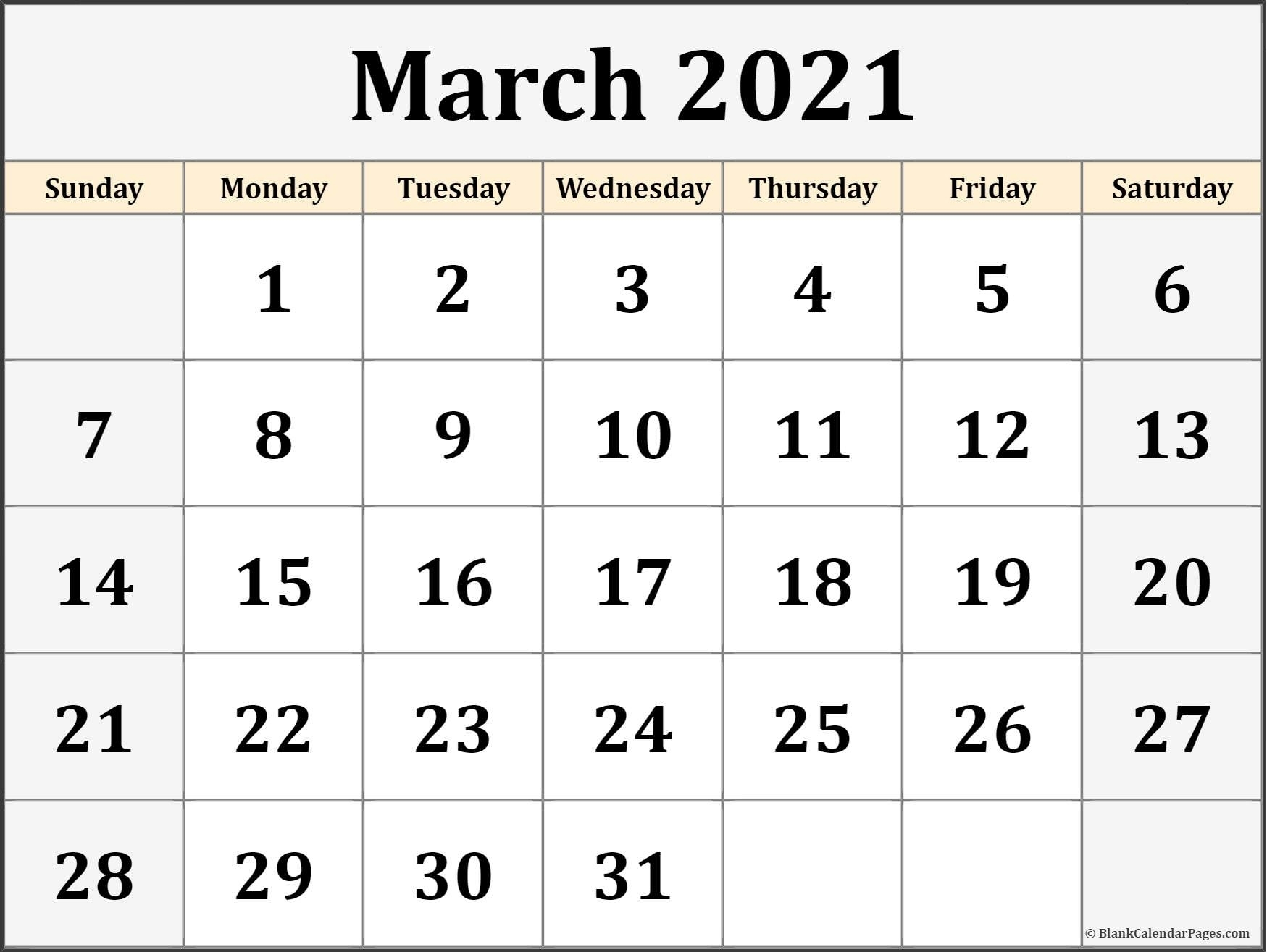March 2021 Calendar   Free Printable Calendar July 2021 Calendar Canada Printable