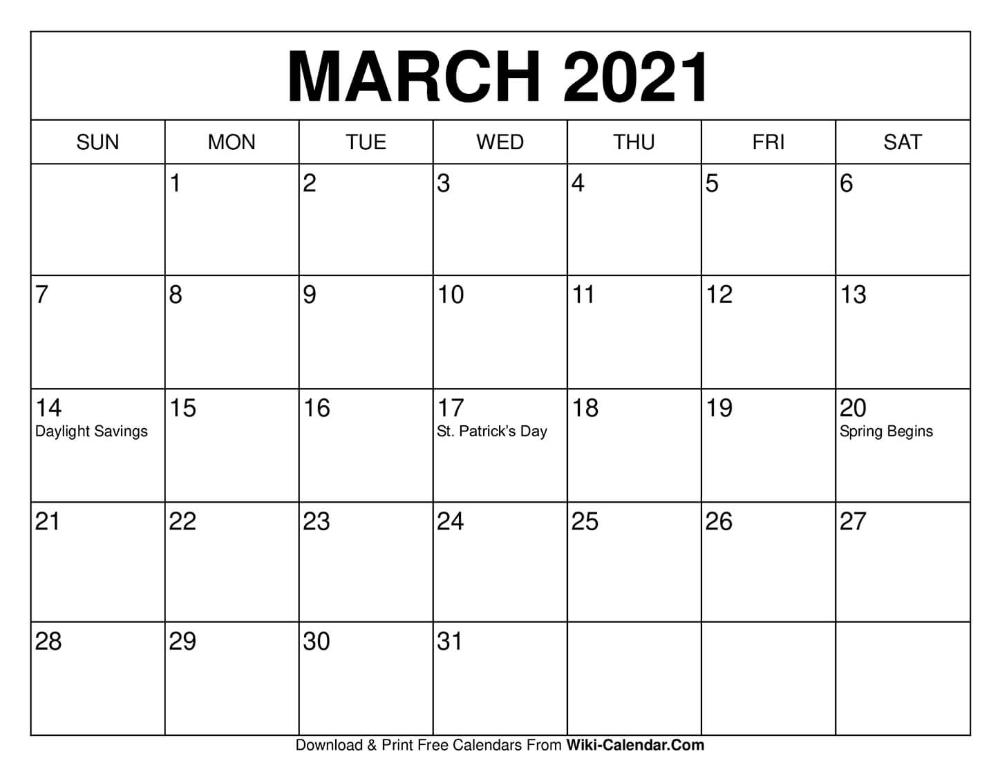 March 2021 Calendar   Print Calendar, Calendar Printables, 2021 Calendar Wiki Calendar August 2021