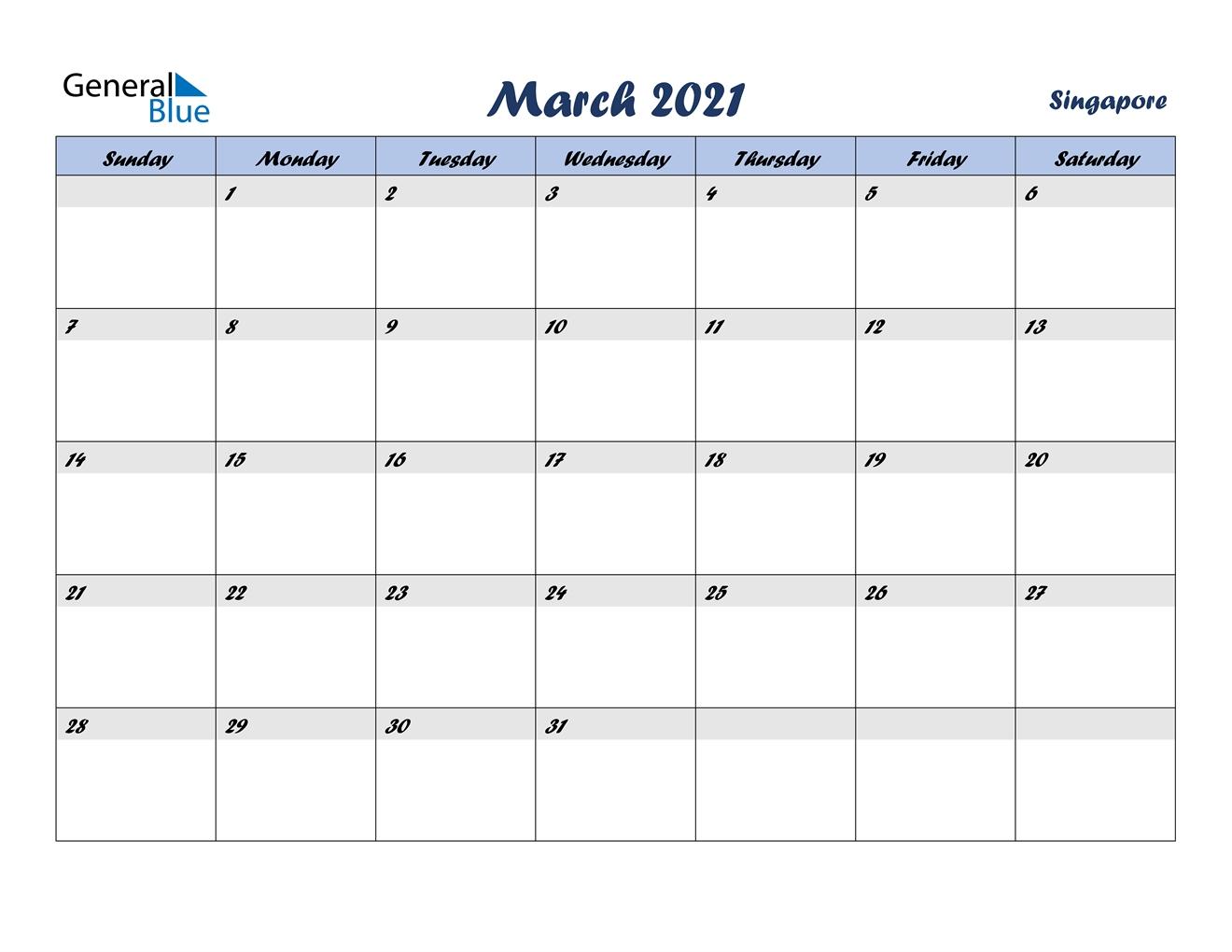 March 2021 Calendar - Singapore September 2021 Calendar Singapore