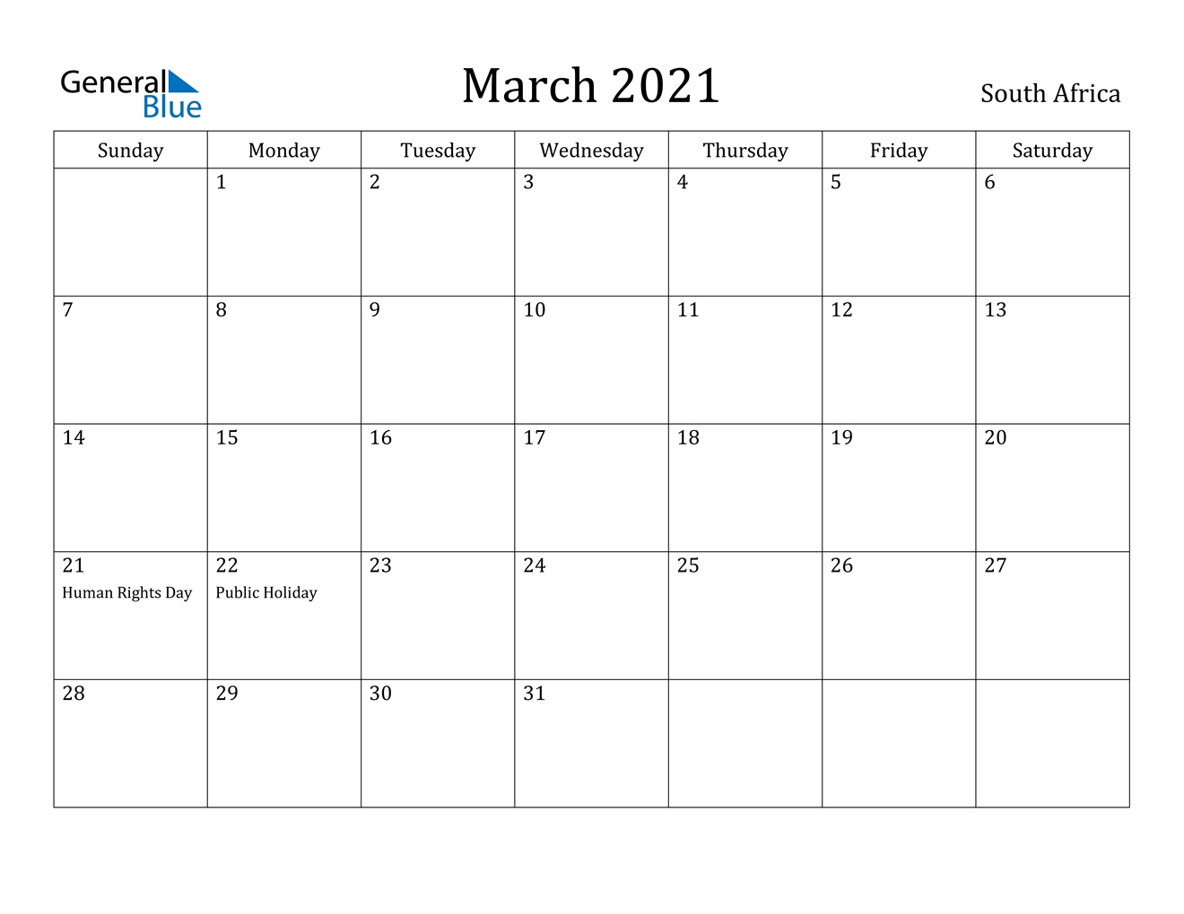 March 2021 Calendar - South Africa November 2020 - March 2021 Calendar