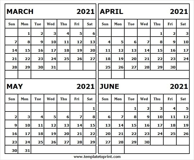 March To June 2021 Blank Calendar Template - Blank Calendar Printable June 2021 Calendar Canada
