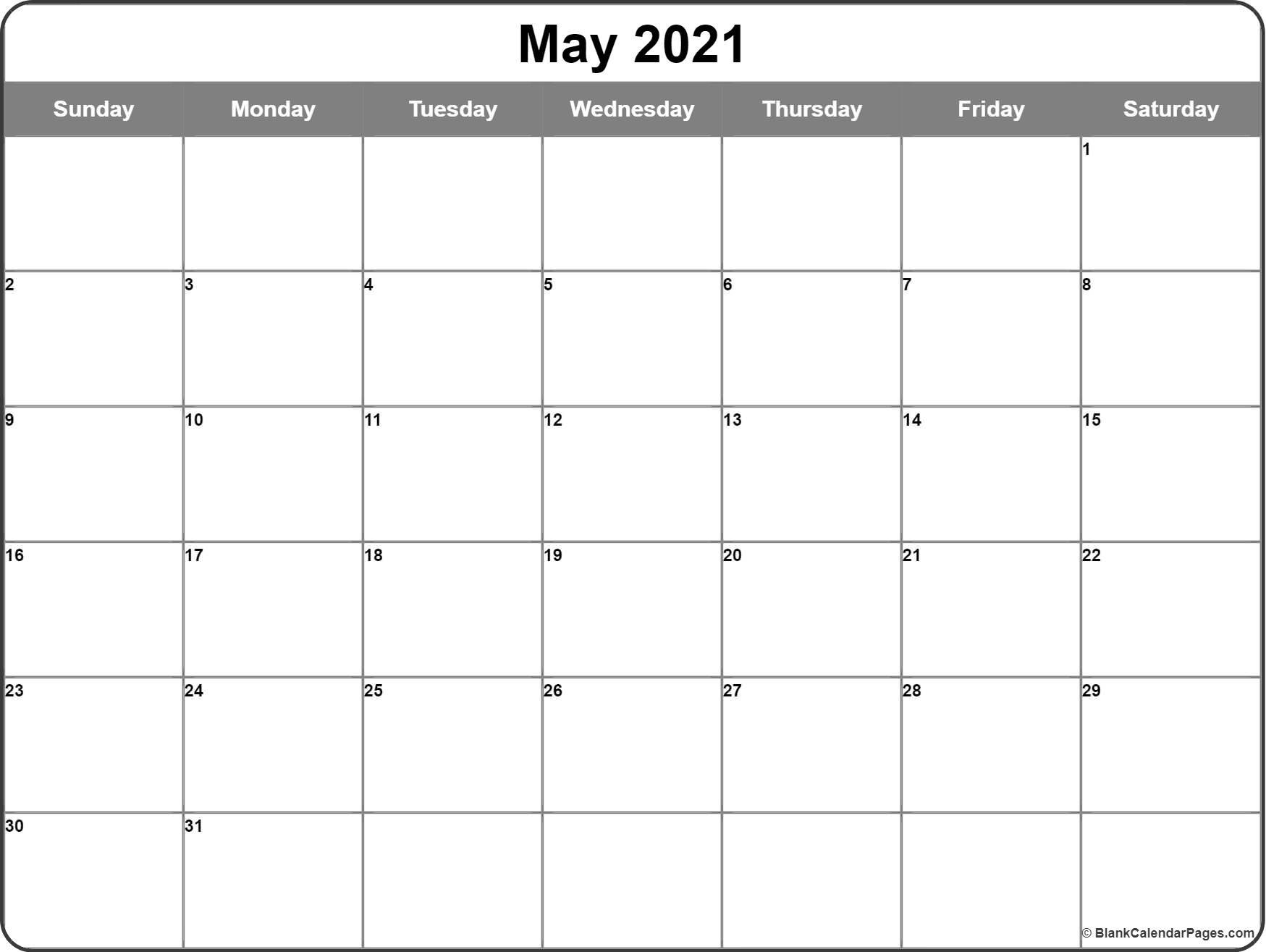 May 2021 Calendar | Free Printable Calendar Blank Calendar July 2020 To June 2021