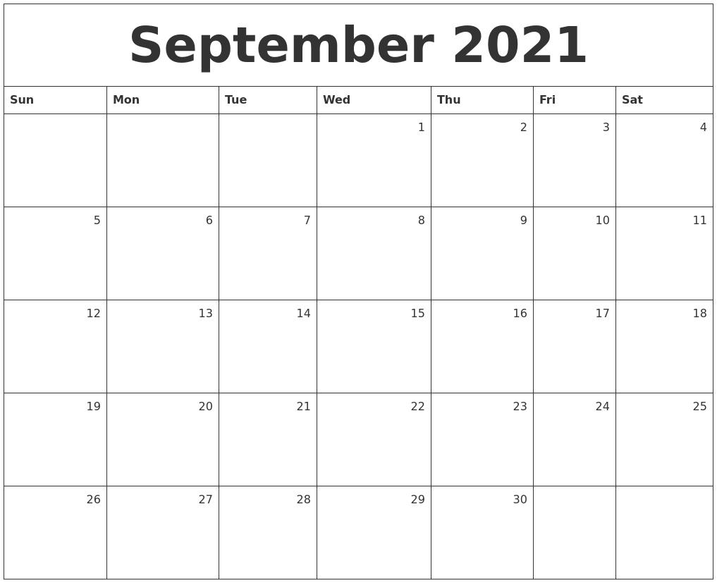 May 2021 Printable Calendar September 2021 Calendar Starting Monday