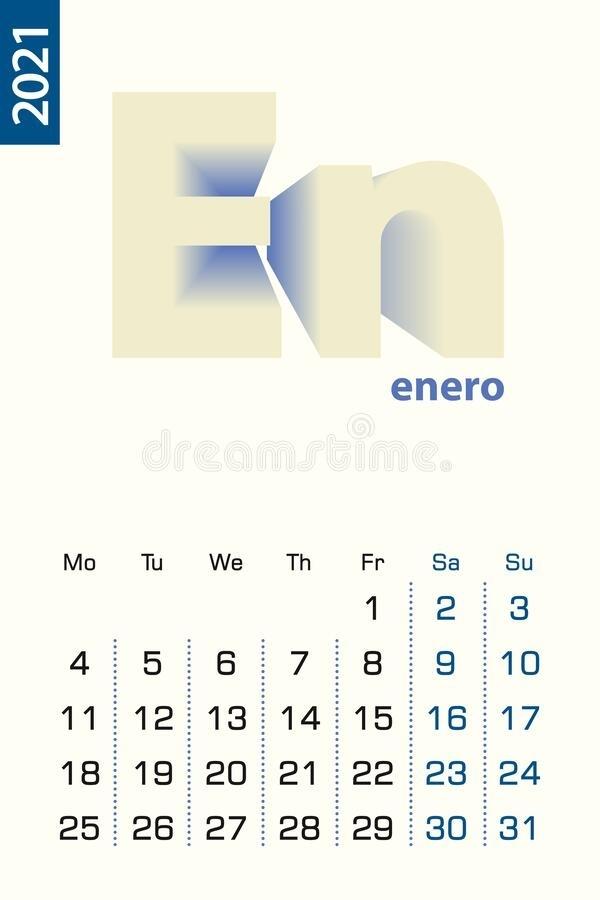 Minimalist Calendar Template For August 2020, Vector Calendar In English Stock Vector June 2021 Calendar In Spanish