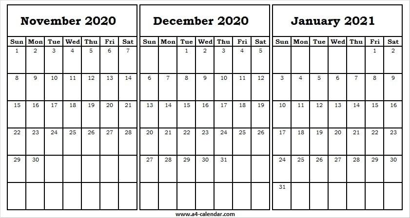 November 2020 To January 2021 Calendar A4 Size - Pinterest November December 2020 January 2021 Calendar
