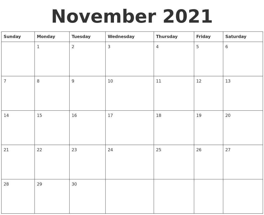 November 2021 Blank Calendar Template November 2020 - March 2021 Calendar