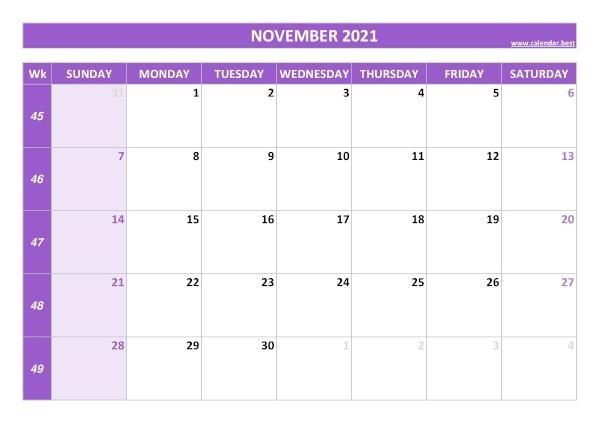 November 2021 Calendar -Calendar.best Free November 2021 Calendar