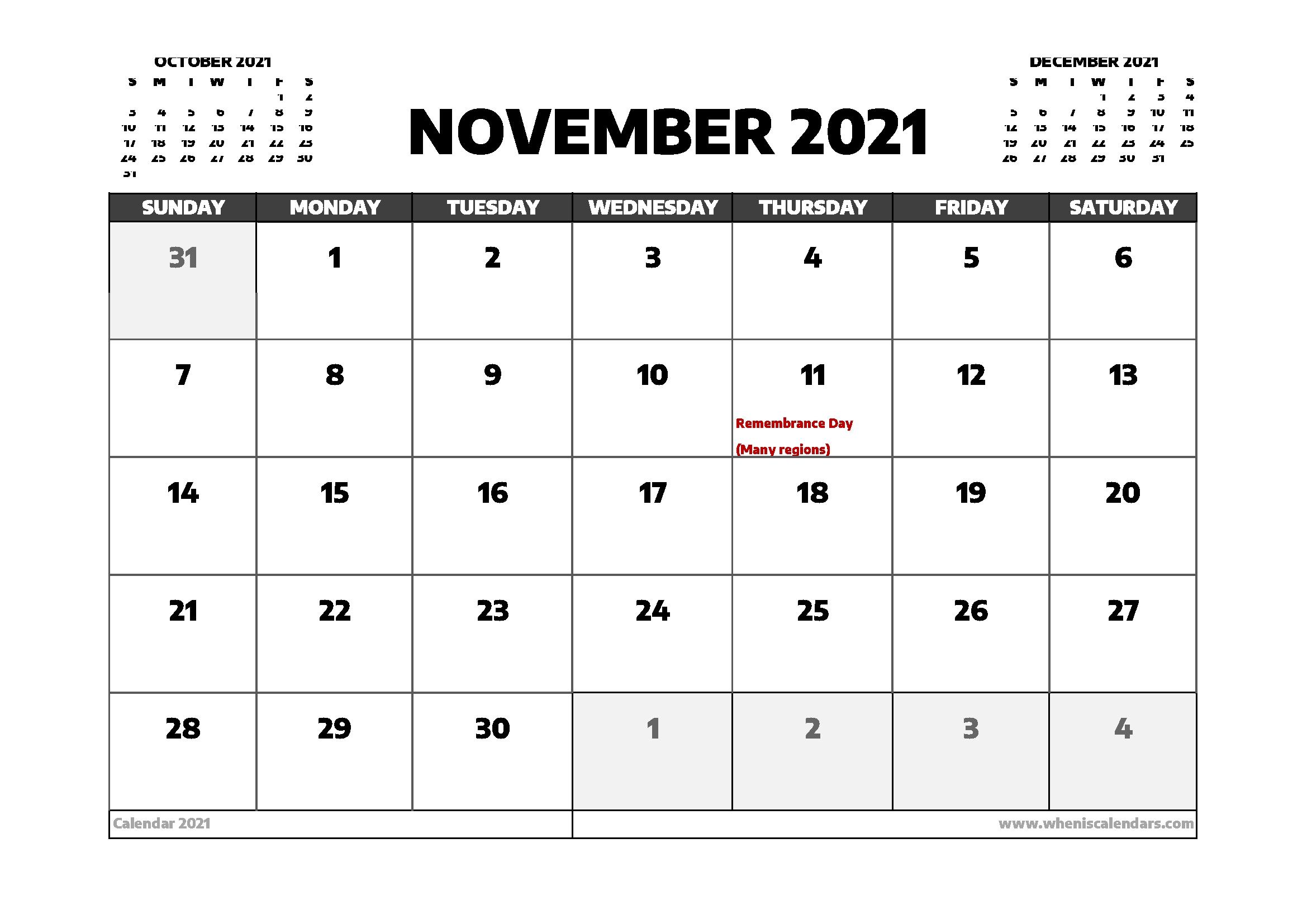 November 2021 Calendar Canada | Printable March Free Printable November 2021 Calendar With Holidays