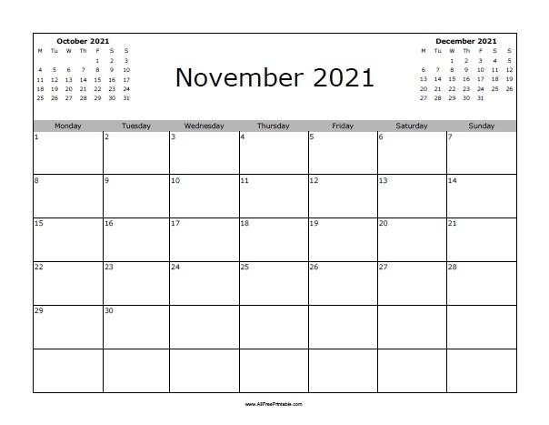 November 2021 Calendar Free | Calvert Giving November 2021 Calendar Starting Monday