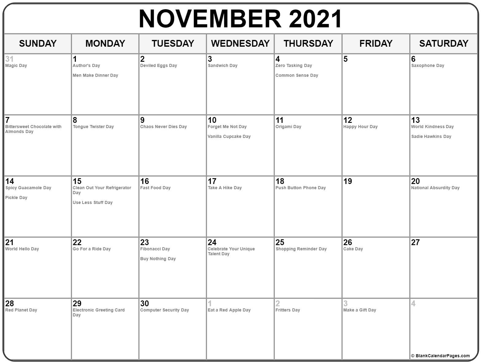 November 2021 Calendar With Holidays Free Printable November 2021 Calendar With Holidays