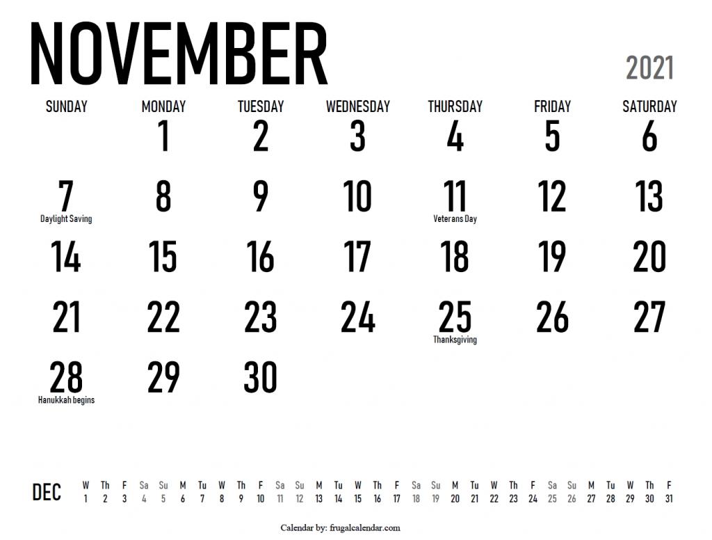 November | 2021 Calendars Printable November 2021 Calendar Starting Monday