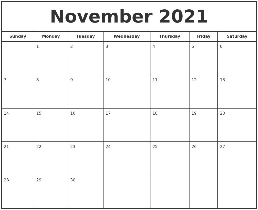 November 2021 Print Free Calendar November 2021 Calendar Starting Monday