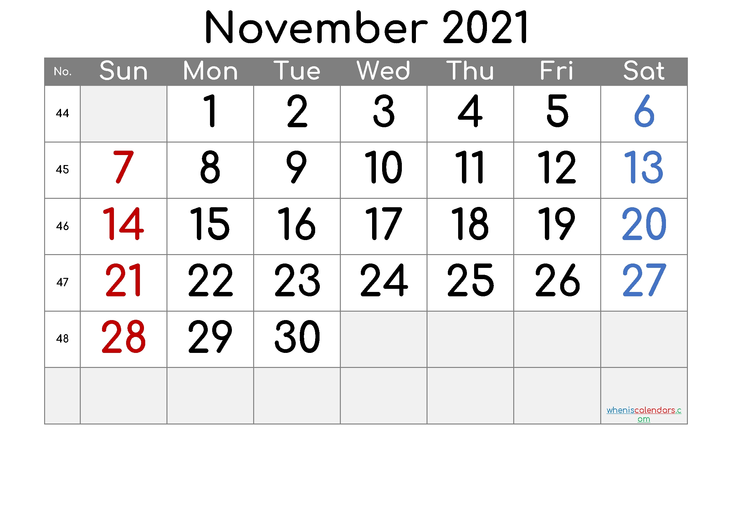 November 2021 Printable Calendar - 6 Templates | Free Printable 2020 Calendar With Holidays Free Printable November 2021 Calendar With Holidays