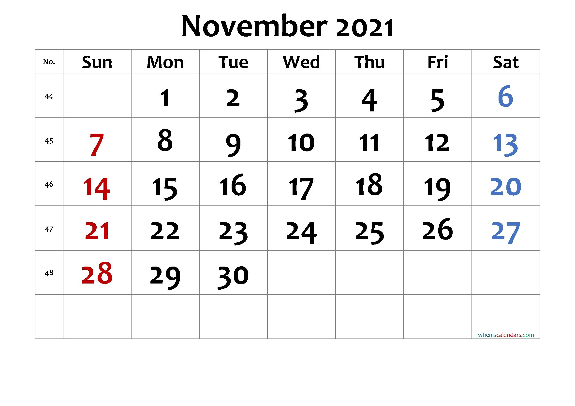 November 6 2021 Calendar | Calendar 2021 Free Printable November 2021 Calendar With Holidays