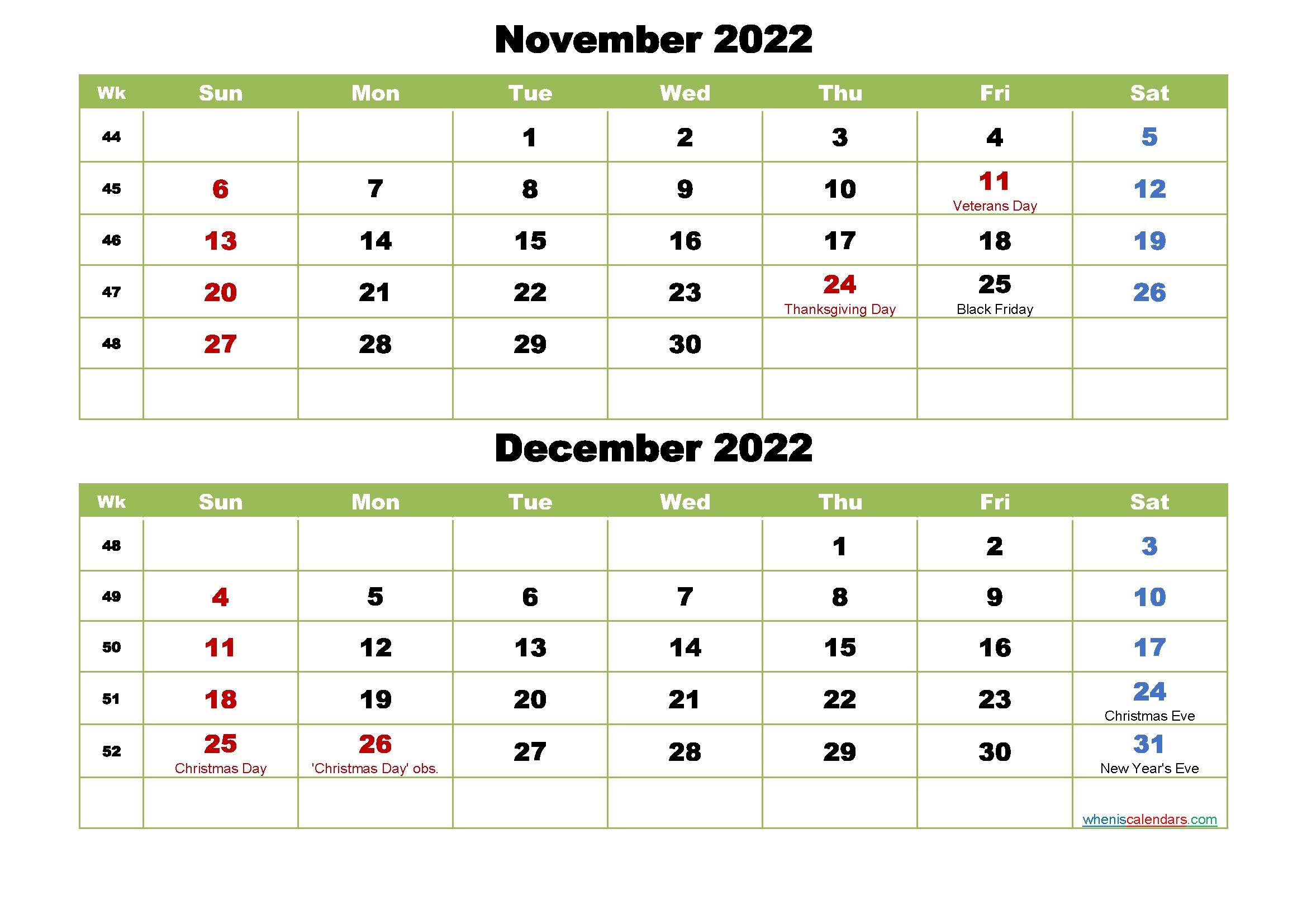 November And December 2022 Calendar With Holidays - Free Printable 2021 Monthly Calendar With December 2021 And January 2022 Calendar