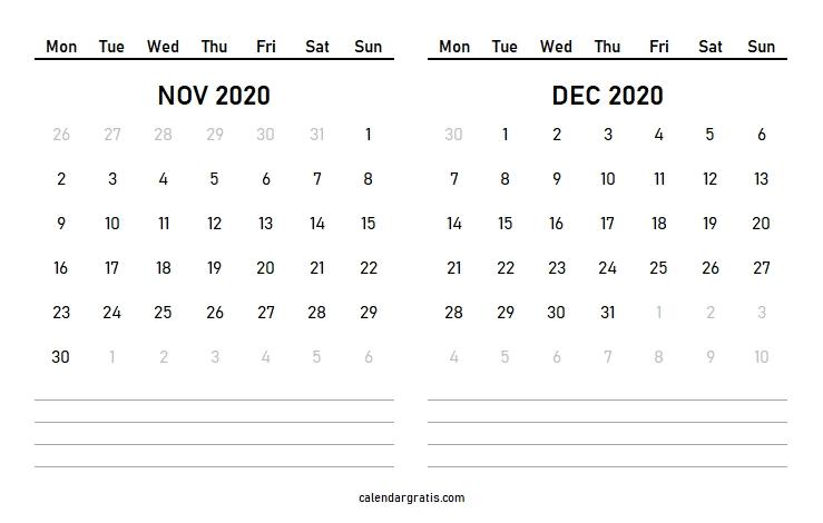 November December 2020 Calendar Template | January February 2021 November December 2020 January 2021 Calendar