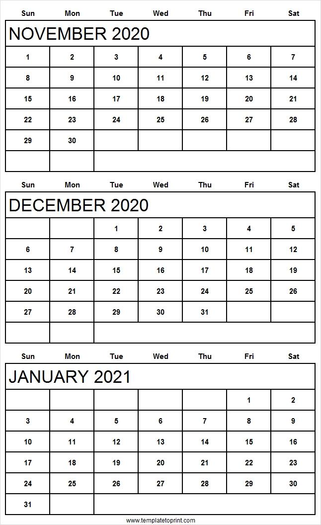 November December 2020 January 2021 Calendar Free | Nov Calendar November December 2020 January 2021 Calendar