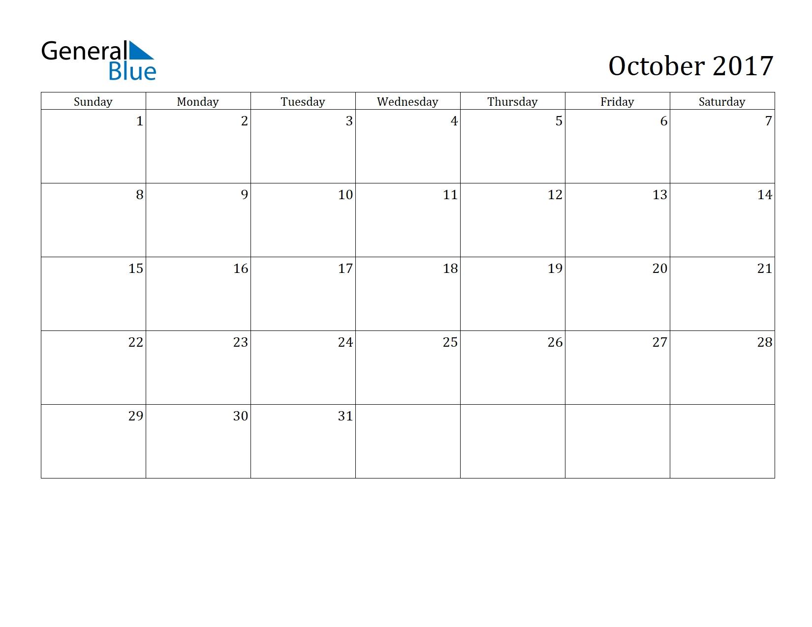 October 2017 Calendar | General Blue General Blue October 2021 Calendar