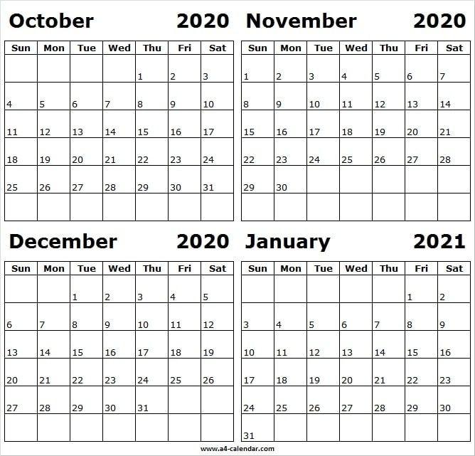 October 2020 To January 2021 Calendar A4 Template - Month Of Oct 2020 In 2020   2021 Calendar August 2021 Calendar Nz