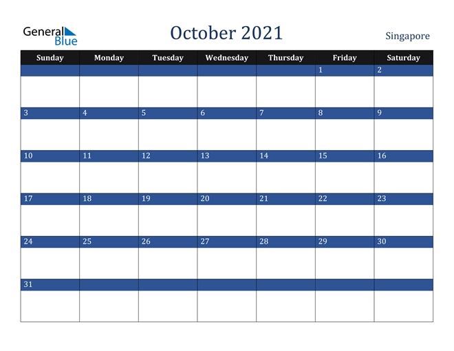 October 2021 Calendar - Singapore National Calendar October 2021