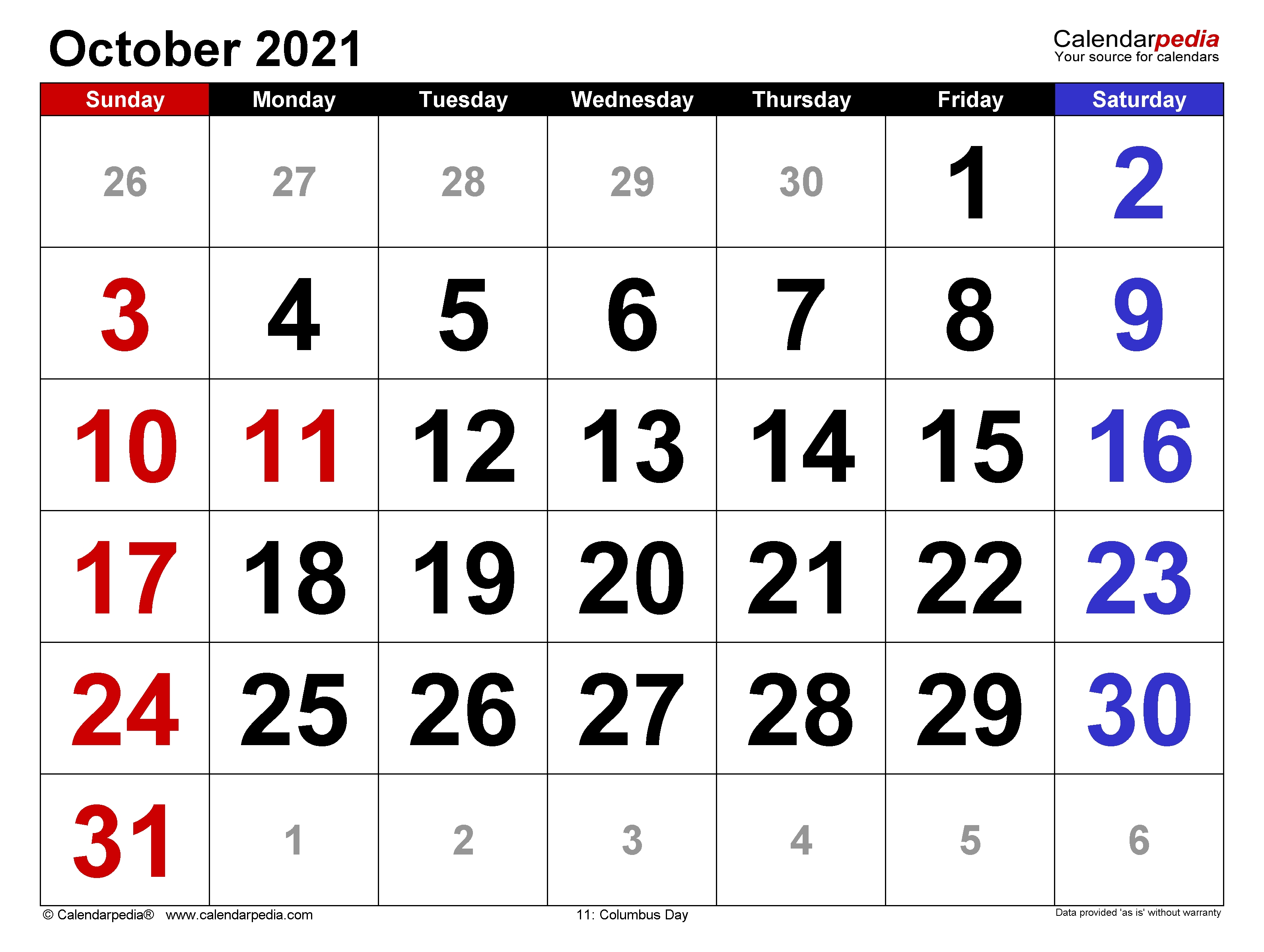 October 2021 Calendar   Templates For Word, Excel And Pdf September October November 2021 Calendar