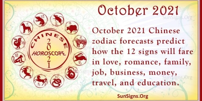 October 2021 Chinese Horoscope Predictions | Sunsigns October 2021 Chinese Calendar