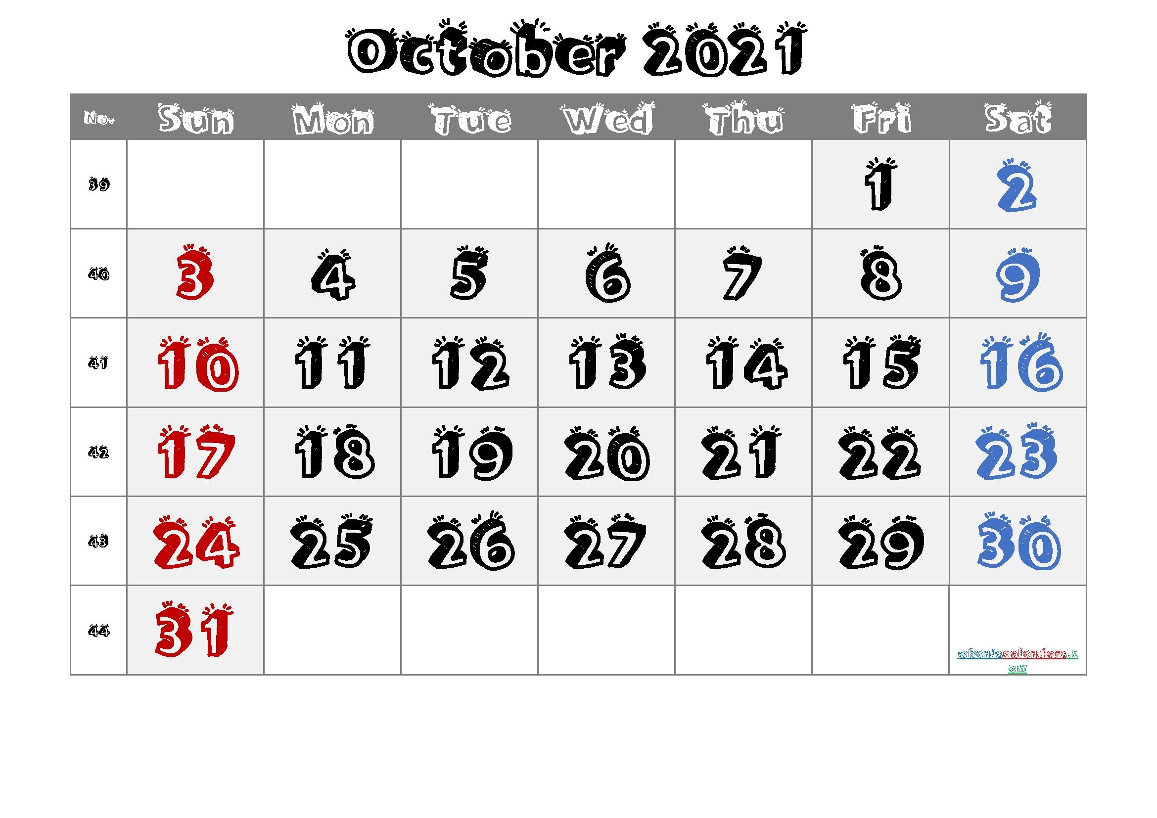 October 2021 Printable Calendar With Week Numbers [Free Premium] In 2020 | Printable Calendar October 2020 - September 2021 Calendar