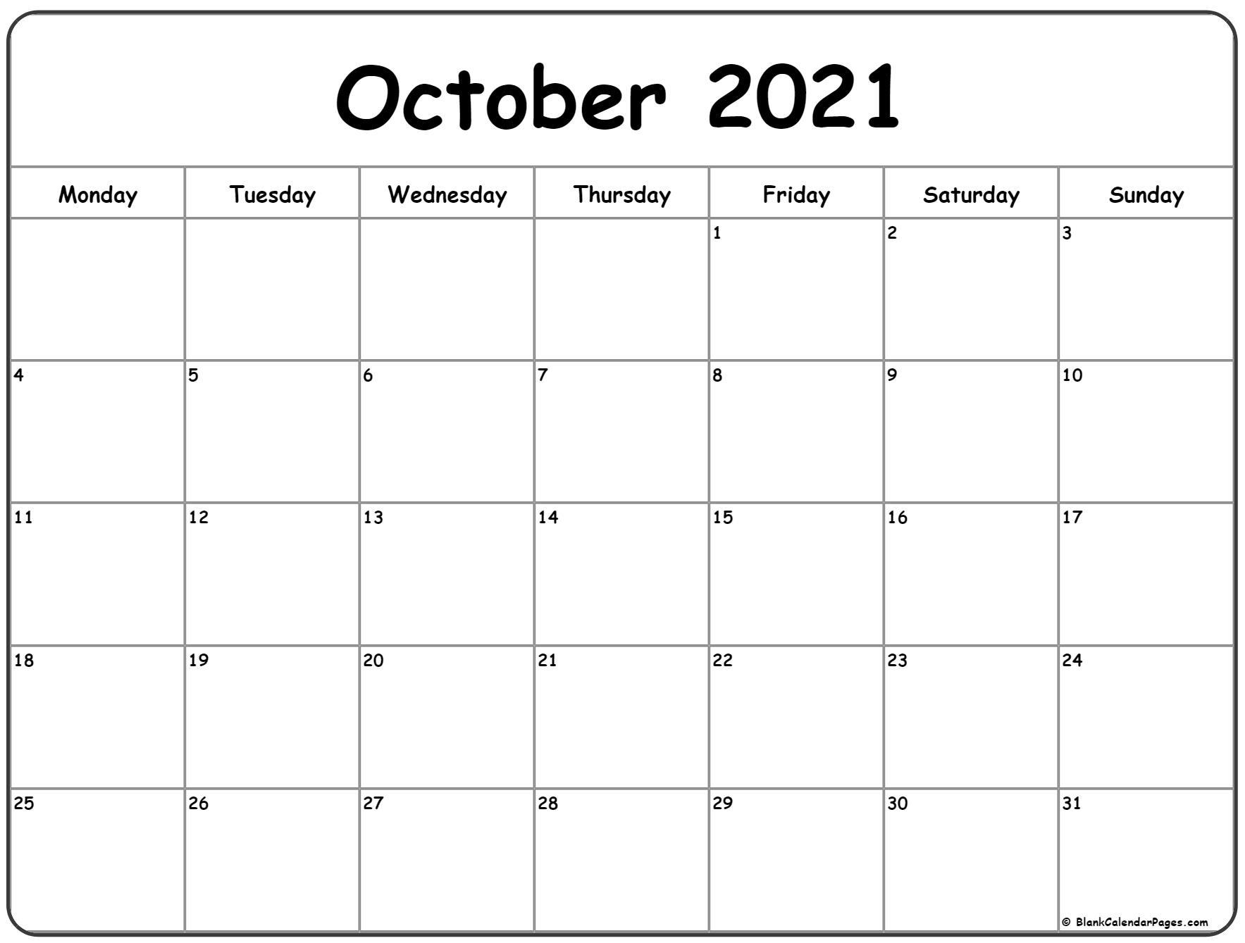 October Calendar 2021 | Month Calendar Printable October 2020 - September 2021 Calendar