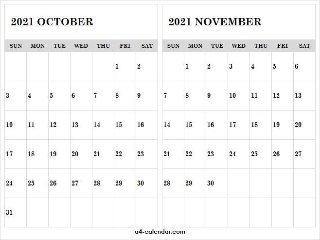 October November 2021 Calendar Page - A4 Calendar October November December 2021 Calendar