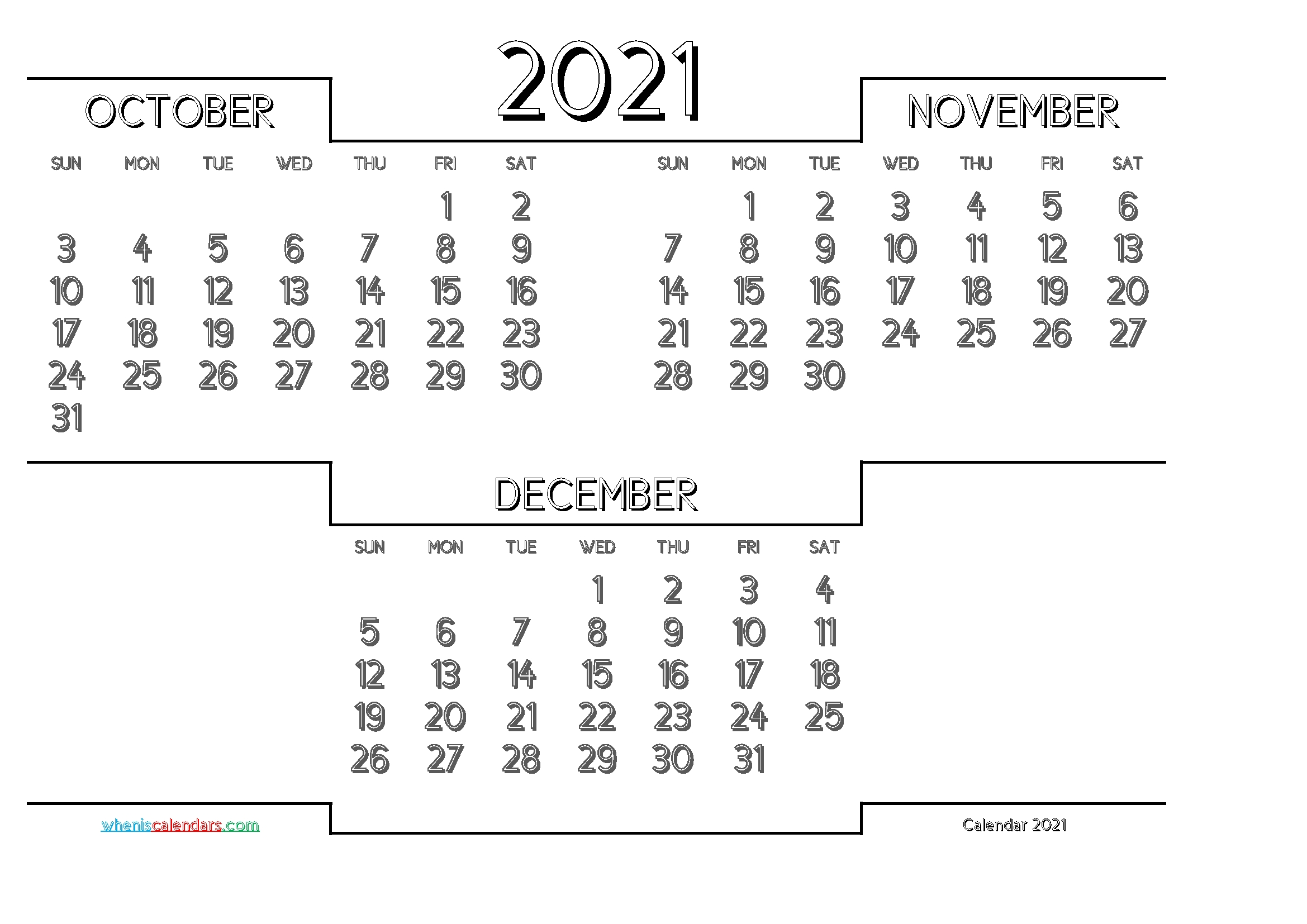 October November December 2021 Printable Calendar Free - Free Printable 2021 Monthly Calendar October November December 2021 Calendar