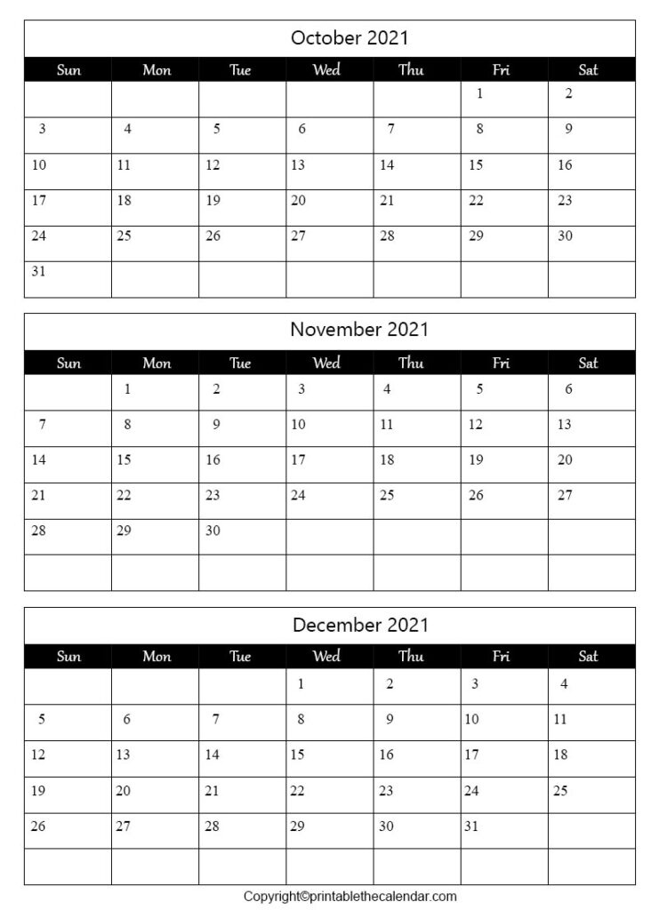 October November December Calendar 2021 | Printable The Calendar October November December 2021 Calendar