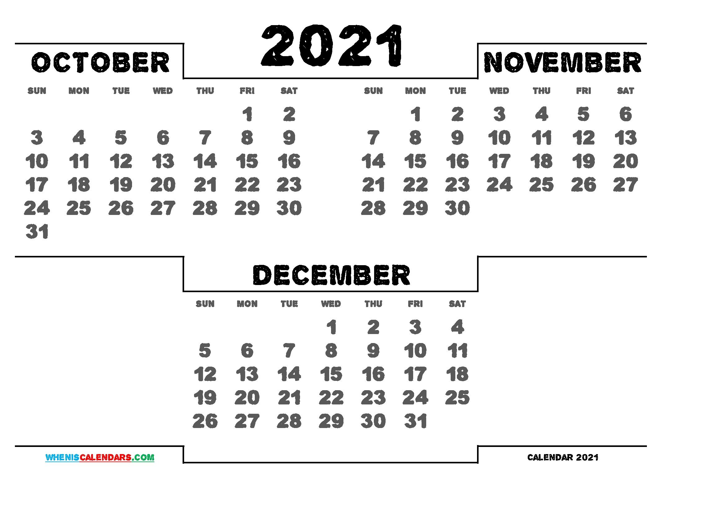 October Through December 2021 Calendar | 2021 Calendar October November December 2021 Calendar