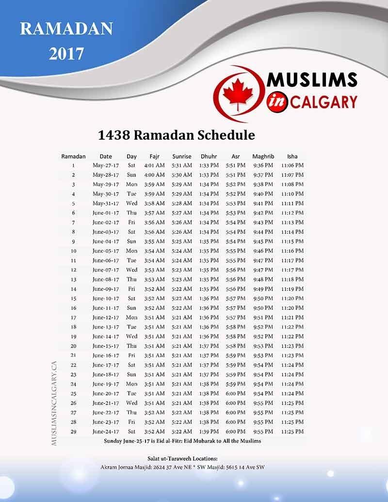 Prayers Times - Muslims In Calgary 25 June 2021 Islamic Calendar