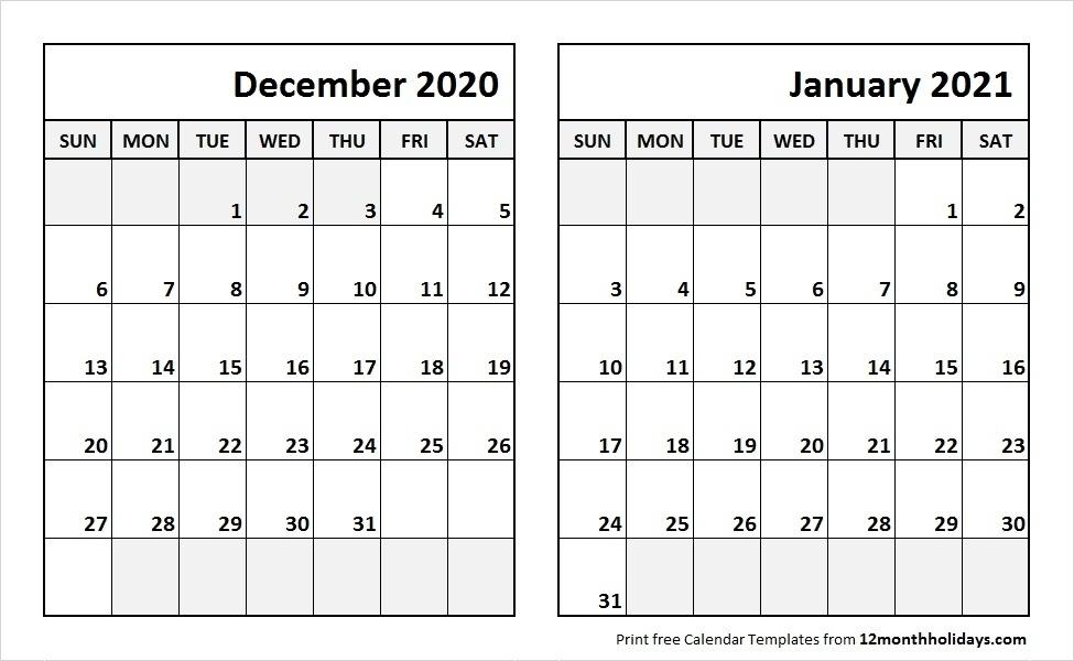 Print 2021 Calendar December | Calvert Giving December 2020 January 2021 Calendar Printable