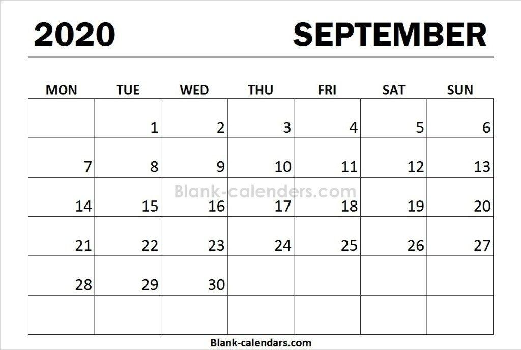 Print Calendar 2020 September Monday Start   Print Calendar, August Calendar, Excel Calendar September 2021 Calendar Starting Monday