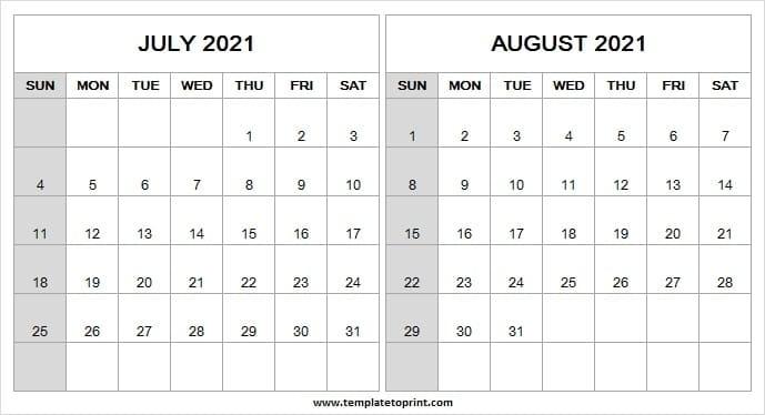 Print Calendar July August 2021 | Printable Blank Calendar 2021 Printable July And August 2021 Calendar