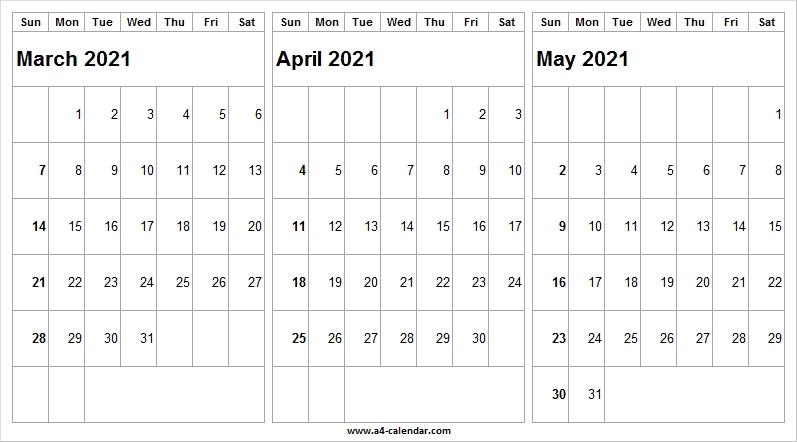 Print Calendar March To May 2021 - A4 Calendar September 2020 To March 2021 Calendar