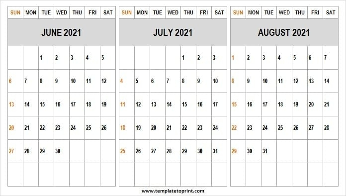 Print Free June To August 2021 Calendar - Printable Calendar 2021 Printable Calendar June July August 2021